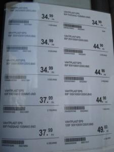 Styroksin hinnat K-rauta Võru 19.5.2013.