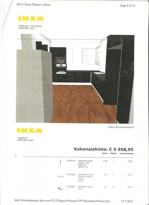 """IKEA:n keittiö olohuoneesta päin katsottuna. Vasemmalla näkyvä """"harmaa möykky"""" on takka ja sen hormi, jota ei IKEA:n ohjelmassa kuvata tämän tarkemmin."""