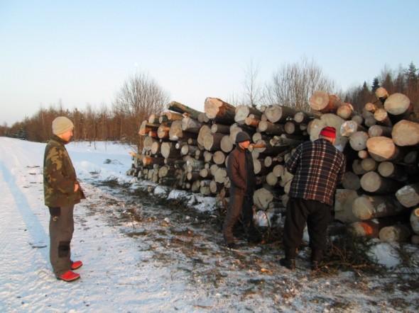Helmikuu 2013 tukkeja tienvarressa. Kuvassa vasemmalta poika Matti Rautio, keskellä siskon poika Toni Rautio ja oikealla isäni Jukka Rautio. Isä teki talkoilla sahaus- ja metsätöitä useita kuukausia.