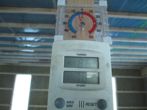Lämpötila ylimmässä kerroksessa aamulla 18.1.2014 oli -8C. Samaan aikaan ulkona oli -16C.
