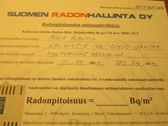 Mittauslukema kirjataan myös Radonpitoisuuden mittauspöytäkirjaan (en merkannut sitä vielä, laitan kohta).