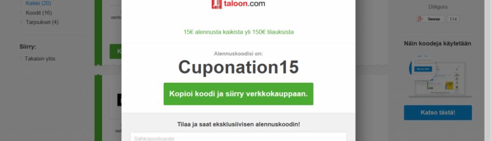 Kuvakaappaus Cuponation sivuilta. Copy-pastella ja isolla näkyvän alennuskoodin voi kopioida talteen ja siirtyä sen jälkeen Verkkokauppa.comiin ostoksille.