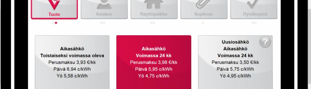 Aikasähkön 24kk hintatiedot löytyvät Vantaan Energian nettisivuilta. Sama sopimus/tuote oli meillä ennenkin, mutta kalliimmilla hinnoilla (tähän asti perusmaksu meillä oil 7,10€/kk, päiväsähkö 10,24 c/kWh ja yösähkö 7,38 c/kWh (siirtohinnat sisältäen). Uudet hinnat päiväsähkölle 9,25c/kWh (alennus 9,7%) ja yösähkölle 6,55c/kWh (siirtohinnat sisältäen, ale 10,6%).