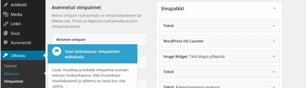 Kuvakaappaus: Talo-Rautio -blogin ohjauspaneelia Worpressin ympäristössä.