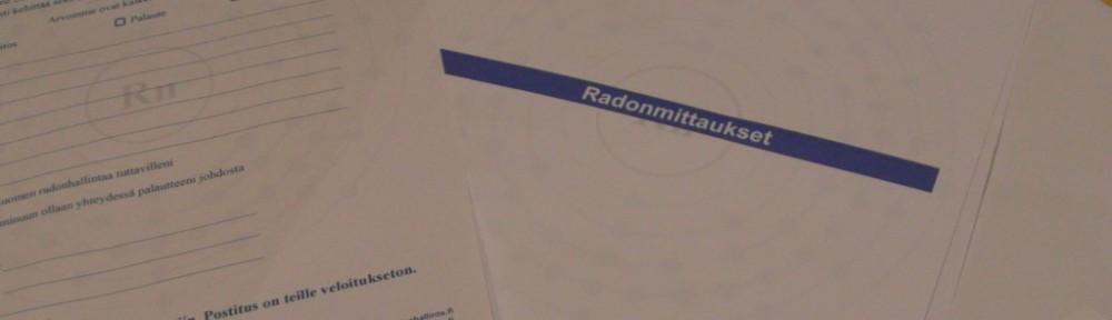 Radon-mittauspaperit kirjepostina.