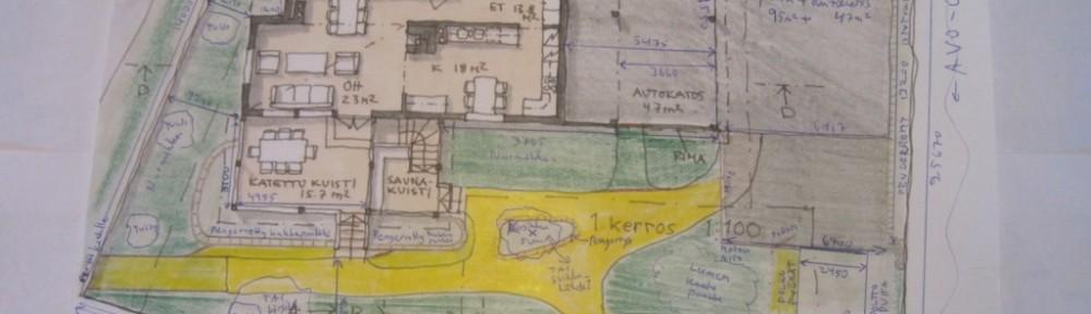 Arkkitehdin luonnoskuva, jossa pihaa oli jo alustavasti hahmoteltu. Toteutus pienin muutoksin?