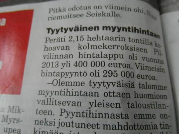 Talo valmistunut vuonna 2005, 240m2 kolmessa kerroksessa yli 2 hehtaarin tontilla. Etäisyys Helsinkiin Myrskylästä on noin 100 km. Viimeisin hintapyyntö talosta oli 295.000€ eli 1229€ neliöltä. Toteutunutta kauppahintaa 7-lehdessä ei kerrottu.
