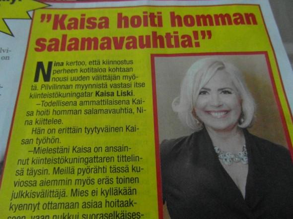 Kaisa Liski sai kaupat. Myös aikoinaan vuonna 2012 meidän rivitalon myynnin edistämiseksi yritettiin myös saada Kaisan apuja, mutta hän ei itse ehtinyt, mutta Kaisan myyntitiimistä välittäjäksi saatiin kuitenkin Virpi Nisula - joka sitten saikin meidän silloisen asunnon kaupaksi. Kaisa Liskin myyntitiimin jäsenet löytää tässä linkistä (näyttää siellä vielä Virpi Nisulakin olevan mukana), http://www.vivalkv.fi/yritys/henkilosto/