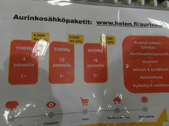 Helenin hinnat eri paketeille. Jos teho kolmin kertaistuu 1100 Wp:stä 3300 Wp:hen - niin hinta vain kaksinkertaistuu. Jolloin isommassa paketissa on lyhyempi takaisinmaksuaika kuin pienemmässä.