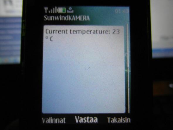 Lämpötilailmoitus.