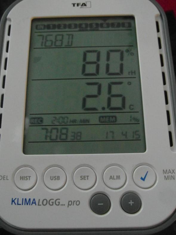 Tänään 17.4.2015 aamulla lämpötila kävi yläpohjassa lähellä nollaa ja kosteusprosentti 80%:ssa. Mielenkiintoista katsoa mitä lukemia tulee syksyllä - jolloin oikeasti on kuukausitolkulla märkää ja lämpötila vain pikkuisen plussalla. Tosin nykyään sama syyskeli jatkuu monesti talvellakin ihan samanlaisena.