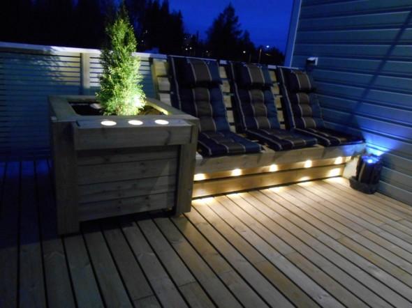 Kuva 3. Illan hämärtyessä ja LED-valojen ollessa päällä lopputulos näyttää tältä.