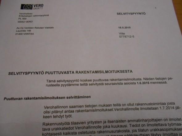 Kirje verohallinnon erityisalojen seurantaryhmältä, jossa kyseltiin puuttuvien rakentamisilmoitusten perään.