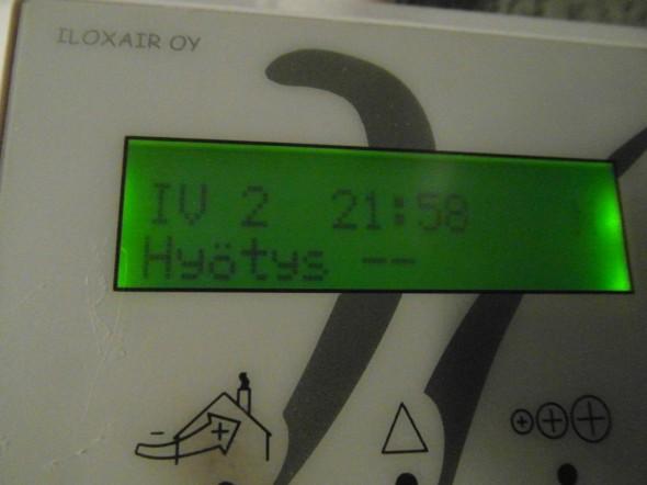 Tällä hetkellä IV-kone ei laske enää hyötysuhdetta, mikä olisikin aika kummallinen luku, jos talosta ulos puhalletaan lämpimämpää ilmaa mitä talon sisälle.