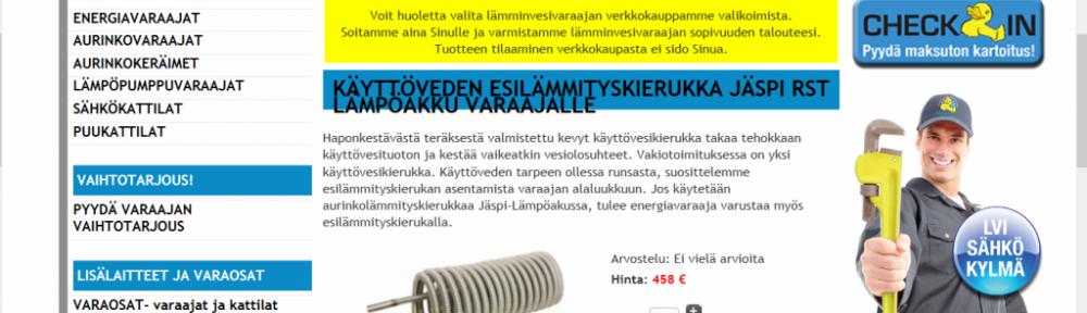 Käyttöveden esilämmityskierukan saa 458 eurolla - ja sen voi upottaa vaikka vanhaan maitotonkkaan.