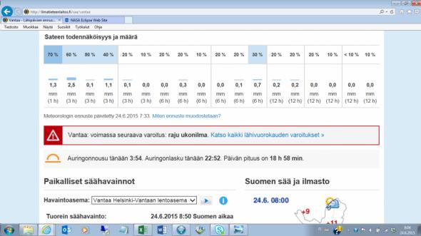 Ilmatieteenlaitoksen sivuilla vantaalaisia varoitetaan rajusta ukonilmasta 24.6.2015. klo 8:50. Tarkemmin sääkarttoja katsomalla pahimmat ukonilmat taitaa kuitenkin iskeä tänään Savon, Pohjois-Karjalan ja Kainuun suunnalle.