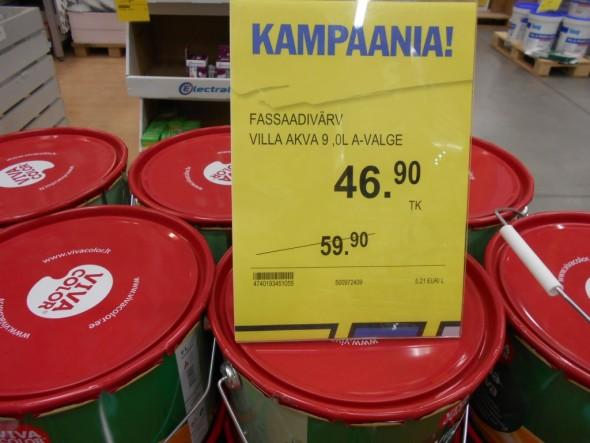 Talo pitää vielä maalata, ja ulkoseinän maali on tarjouksessa ja maksaa suunnilleen puolet siitä, mitä maalit Suomessa maksaisivat.