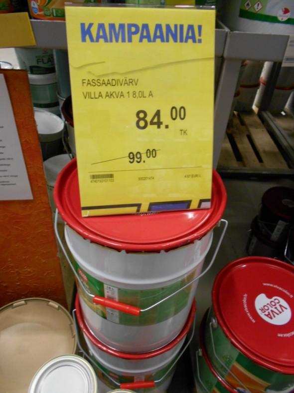 Isommassa 18 litran purkissa maali tulee vielä halvemmaksi.