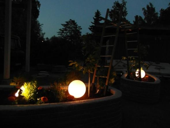 Kunhan nämä tästä vähän vielä kasvavat, niin lamput jäävät kasvien lomaan puoliksi piiloon...