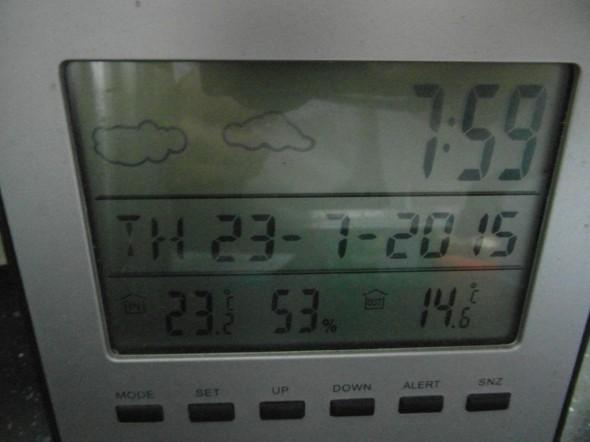 Tänään 20.7.2015 aamulla klo 7:59. Lämpötila sisällä keskikerroksen keittiössä +23,2C ja ulkona +14,6C. Aamu oli sumuinen, eilen satoi - paitsi aurinko vähän pilkahti illalla, mutta ei enää silloin tuntunut erityisen lämpimältä, vaikka näkyvissä olikin hetken aikaa. Mistä se lämpö oikein tulee sisälle?